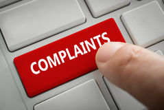 Complaints button on computer Keyboard royalty free stock photos