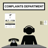 Complaints department. Worker in customer complaints department wearing ear defenders Royalty Free Illustration
