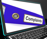Complaints File On Laptop Shows Complaints Stock Photography