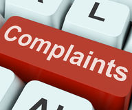Complaints Key Shows Complaining Or Moaning Online. Complaints Key Showing Complaining Or Moaning Online Stock Images