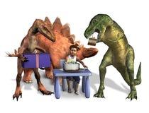 Compleanno del dinosauro - con il percorso di residuo della potatura meccanica illustrazione di stock
