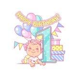 Compleanno del ` s della neonata primo Decorazione festiva Immagine Stock