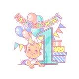Compleanno del ` s del neonato primo Decorazione festiva Immagine Stock