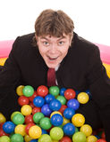 Compleanno dell'uomo d'affari con la sfera. Fotografia Stock Libera da Diritti