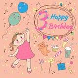 Compleanno della bambina 3 anni. Cartolina d'auguri o invito Immagini Stock Libere da Diritti