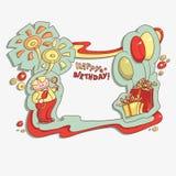 Compleanno della carta del fumetto buon Fotografie Stock