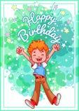 Compleanno della cartolina d'auguri con un ragazzo felice Immagine Stock Libera da Diritti