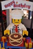 Compleanno della scultura di Lego buon Fotografie Stock Libere da Diritti