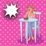 Compleanno di Art Unhappy Beautiful Woman Celebrating di schiocco da solo Ragazza triste con la torta di compleanno Royalty Illustrazione gratis