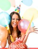 Compleanno di celebrazione femminile Immagini Stock
