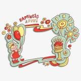 Compleanno, felicità e divertimento della carta del fumetto buon Fotografia Stock