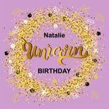 Compleanno magico dell'unicorno Fotografie Stock Libere da Diritti