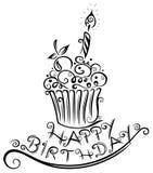 Compleanno, muffin, bigné Immagine Stock Libera da Diritti