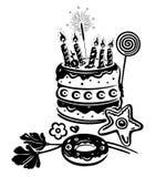 Compleanno, torta, illustrazione Immagini Stock Libere da Diritti
