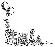 Compleanno, torta, illustrazione Immagine Stock