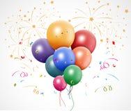 Compleanno variopinto con il pallone ed i fuochi d'artificio illustrazione di stock