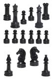 Complect of the black chessmen Stock Photos