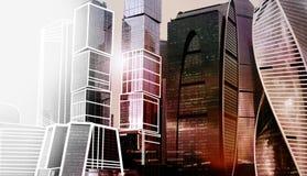 Complejo de la ciudad de Moscú del edificio de oficinas del rascacielos Tecnología del negocio Fondo moderno de la arquitectura d imágenes de archivo libres de regalías