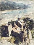 Complejo de la fortaleza de Ananuri en el río de Aragvi en Georgia Digitaces ilustración del vector