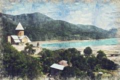 Complejo de la fortaleza de Ananuri en el río de Aragvi en Georgia Digitaces stock de ilustración