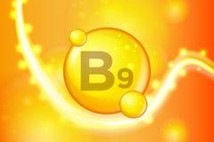 Complejo de la vitamina con fórmula química chispas del oro del brillo Médico y farmacéutico stock de ilustración