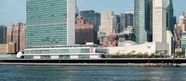 Complejo de las jefaturas de la O.N.U Naciones Unidas según lo visto de Roosevelt Is Imagen de archivo libre de regalías
