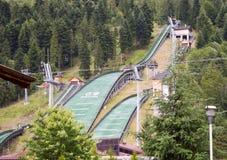 Complejo de tres saltos de esquí Szczyrk Foto de archivo libre de regalías