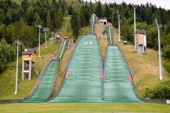 Complejo de tres saltos de esquí Szczyrk Imagen de archivo libre de regalías