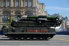 ` Complejo del ` BUK-M2 del misil antiaéreo durante el desfile militar en cuadrado rojo en honor de Victory Day Fotos de archivo libres de regalías
