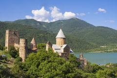 Complejo del castillo de Ananuri Foto de archivo