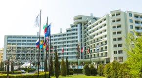 Complejo del hotel internacional en Sunny Beach, Bulgaria Imágenes de archivo libres de regalías