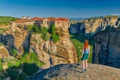 Complejo del monasterio de la montaña de Meteora Fotos de archivo