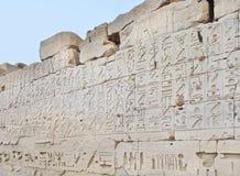 Complejo del templo de Karnak. Jeroglíficos Foto de archivo