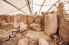 Complejo del templo de Megalitic - Hagar Qim en Malta Foto de archivo