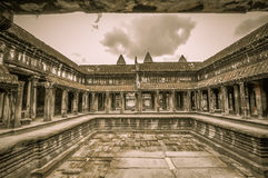 Complejo del templo y de Angkor Wat Khmer de Bayon en Siem Reap, Camboya Foto de archivo libre de regalías