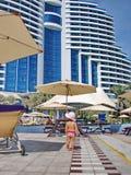Complejo playero de Hotel Le Meridien Al Aqah Imagen de archivo