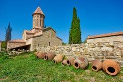 Complejo y academia ortodoxos del monasterio de Ikalto en Kakheti Georgia Foto de archivo libre de regalías