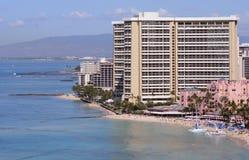 Complejos playeros tropicales de Waikiki Foto de archivo libre de regalías