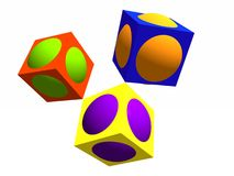 Complementary colours. The complementary colours, represented with cubes and spheres Stock Photos