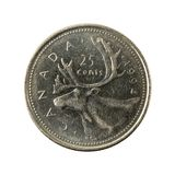 25 complemento della moneta 1994 del centesimo canadese isolato fotografia stock