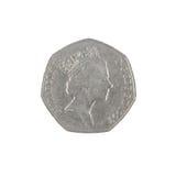 Complemento della moneta di penny di Britannici cinquanta Fotografia Stock Libera da Diritti