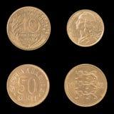 Complemento, moneta inversa della Francia e l'Estonia Fotografia Stock Libera da Diritti