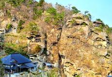 Complesso del santuario del tempio di Yamadera immagini stock libere da diritti
