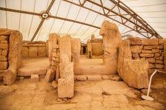 Complesso del tempio di Megalitic - Hagar Qim a Malta Immagine Stock
