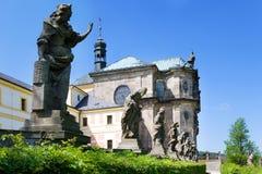 Complesso dell'ospedale barrocco dal 1692 con la m. B Statue di Braun, Kuks, Boemia orientale, repubblica Ceca Fotografia Stock