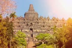Complesso di Borobudur del tempio di Buddist in Yogjakarta in Java fotografia stock