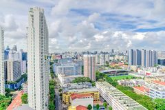Complesso di costruzione del condominio di Singapore alla vicinanza di Kallang Fotografie Stock Libere da Diritti