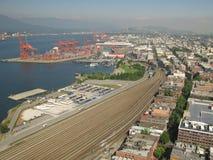 Complesso industriale con il porto Fotografie Stock