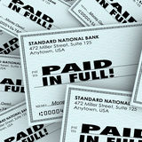 Completamente as palavras pagas verificam a pilha das contas de dinheiro que paga obrigação devida ilustração do vetor