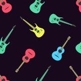 Completamente chitarre senza cuciture del modello dell'illustrazione Fotografia Stock Libera da Diritti
